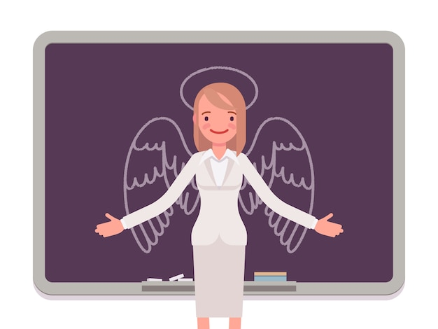 Woman with drawn angel Premium Vector