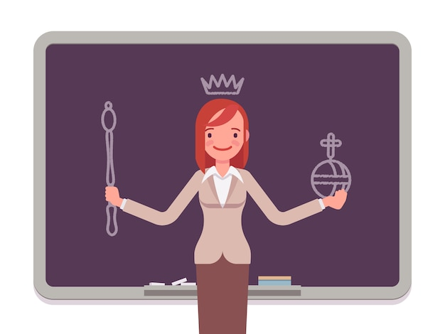 Woman with drawn queen Premium Vector