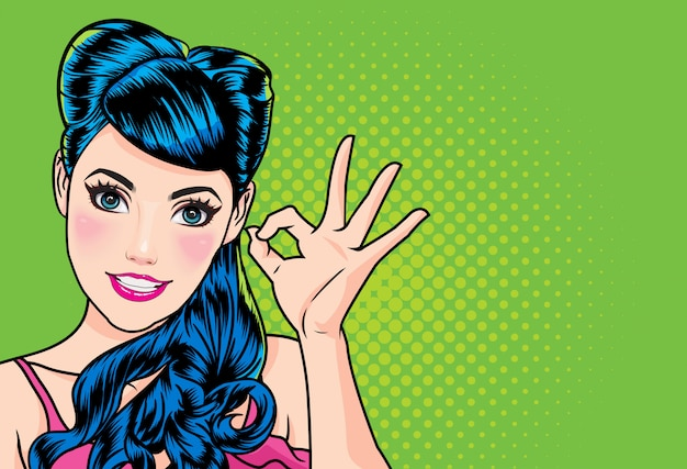 Woman with finger okay gesture action Premium Vector