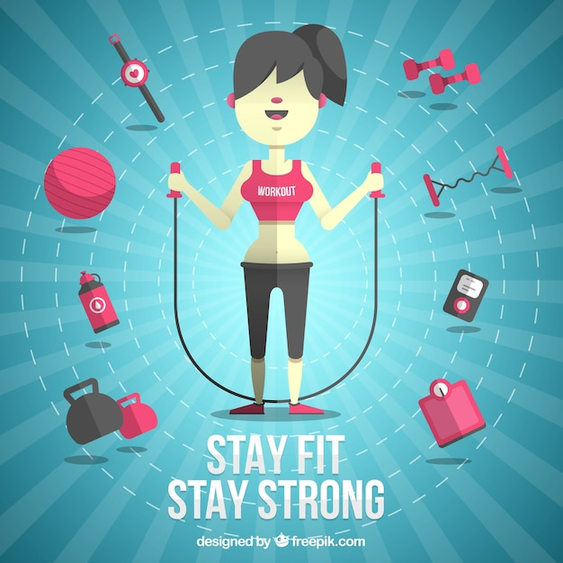 Woman with fitness elements Free Vector