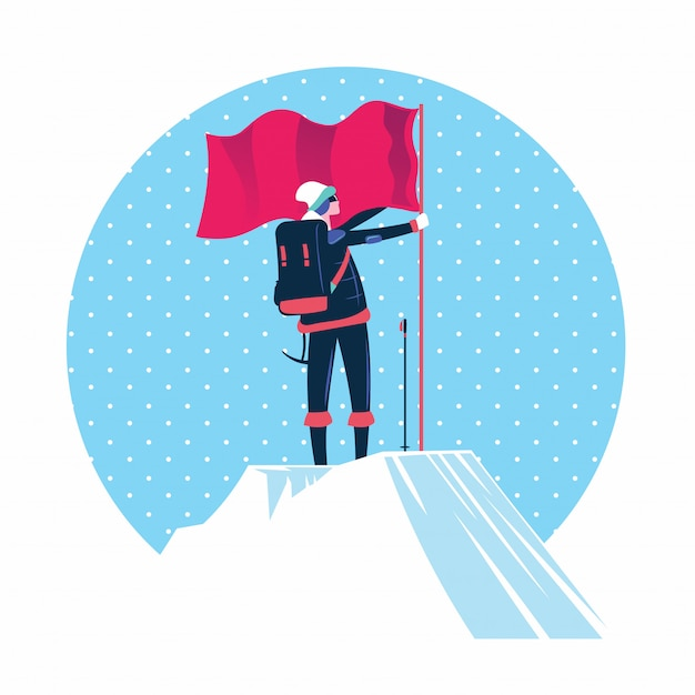Woman with flag standing on top of the mountain peak Premium Vector