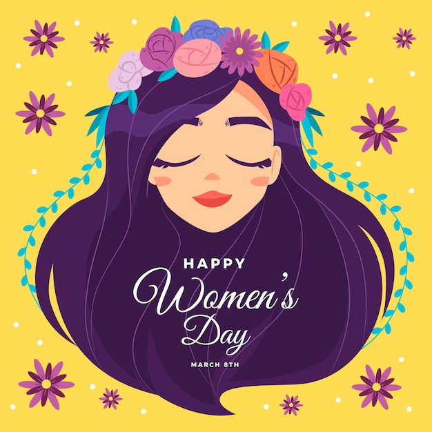 Woman with floral wreath for women's day Premium Vector