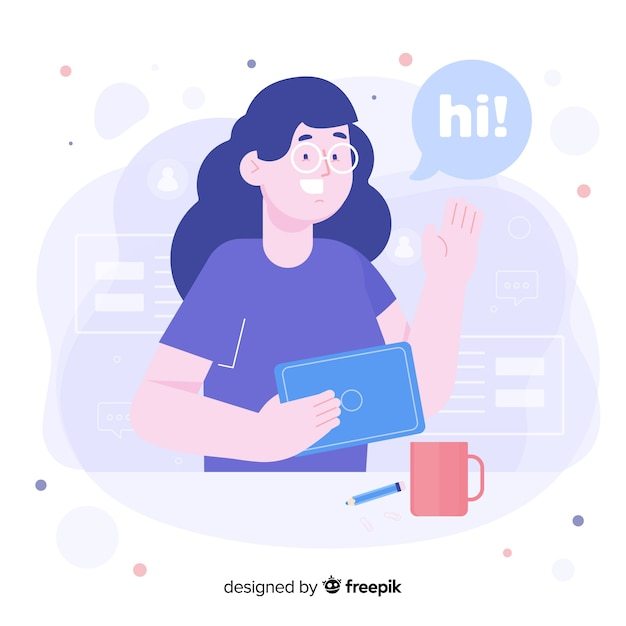 Woman with glasses for welcome concept for landing page Free Vector