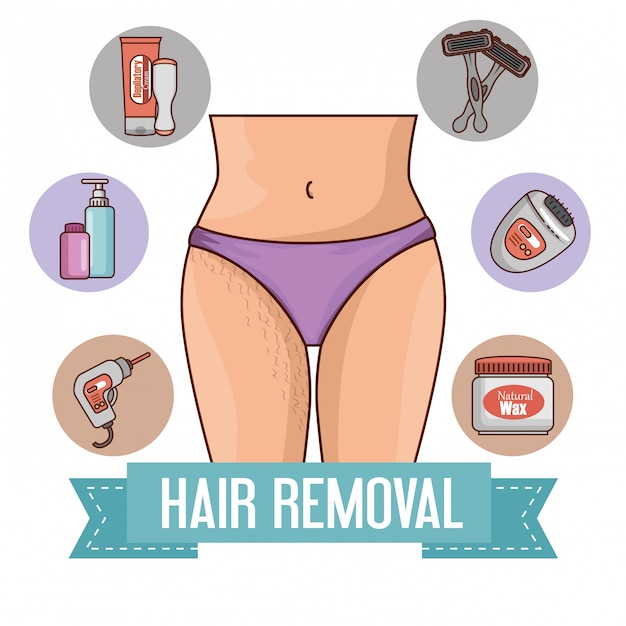 Woman with hair removal tools Free Vector