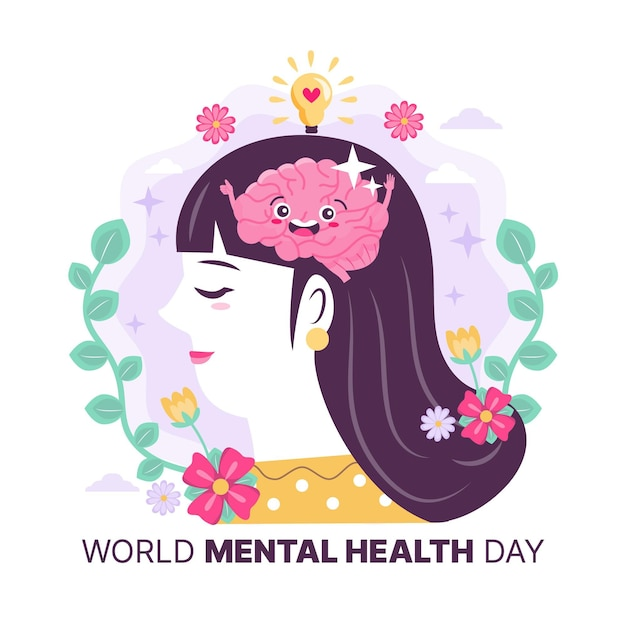 Woman with happy brainworld mental health Free Vector