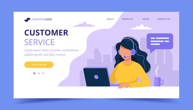 Woman with headphones and computer banner landing page Premium Vector