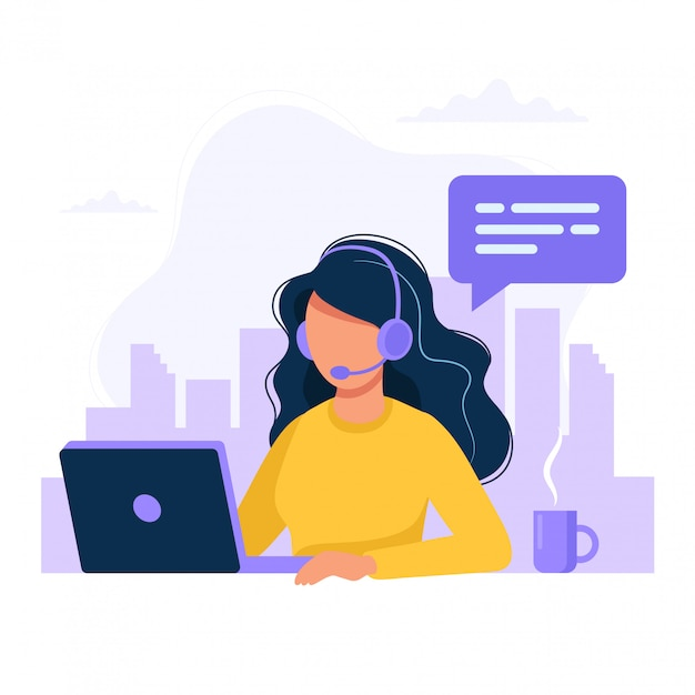Woman with headphones and microphone with computer Premium Vector
