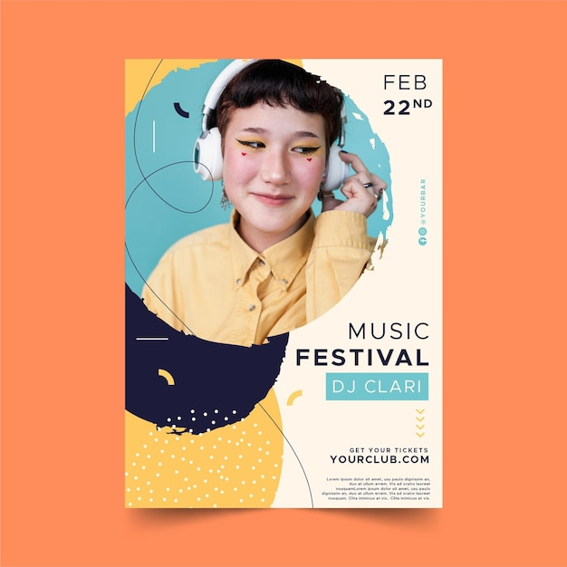 Woman with headphones music event poster template Free Vector