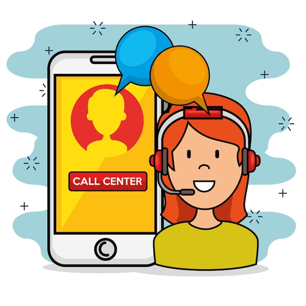 Woman with headset speaking call center support service and smarphone Premium Vector
