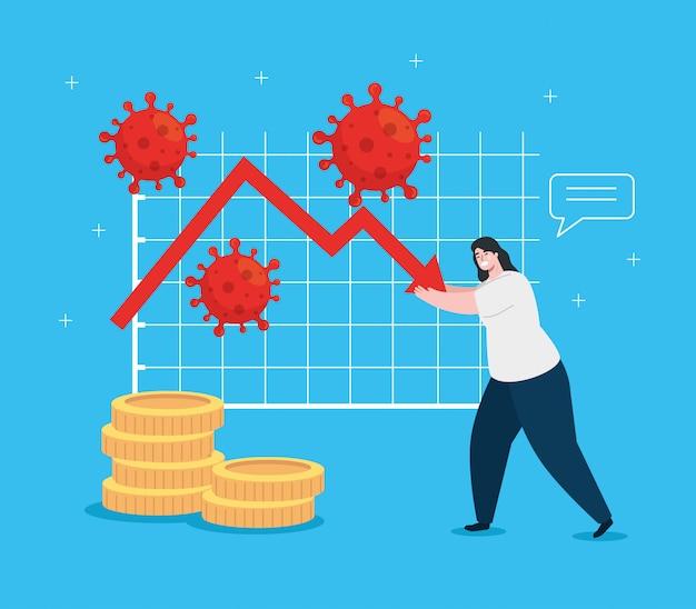 Donna con infografica di impatto economico da covid 2019 Vettore gratuito