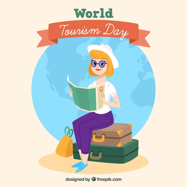 Woman with luggage and map with flat design
