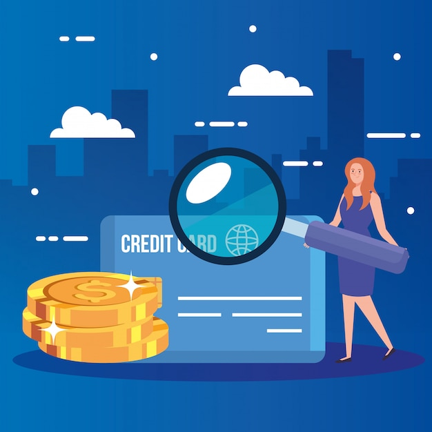 Woman with magnifying glass and finance icons Free Vector