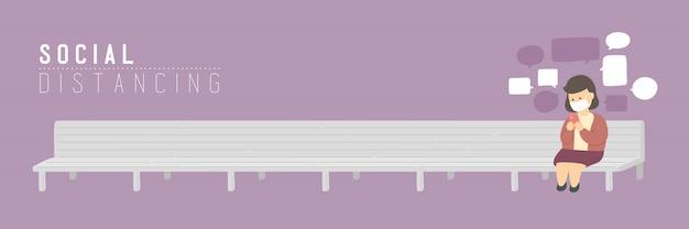 Женщина с маской чата смартфон на скамейке стул держать расстояние до защиты от вспышки covid-19, социальной концепции дистанцирования или социальной иллюстрации баннер на фиолетовом фоне, копией пространства Premium векторы