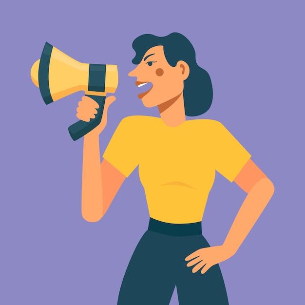 Женщина с мегафоном кричит Бесплатные векторы