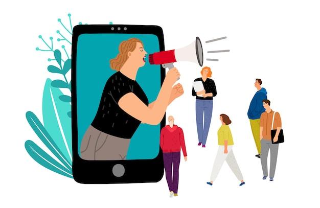 확성기를 가진 여자입니다. 소셜 미디어 마케팅, 작은 사람들과 모바일 프로모션 벡터 개념 프리미엄 벡터