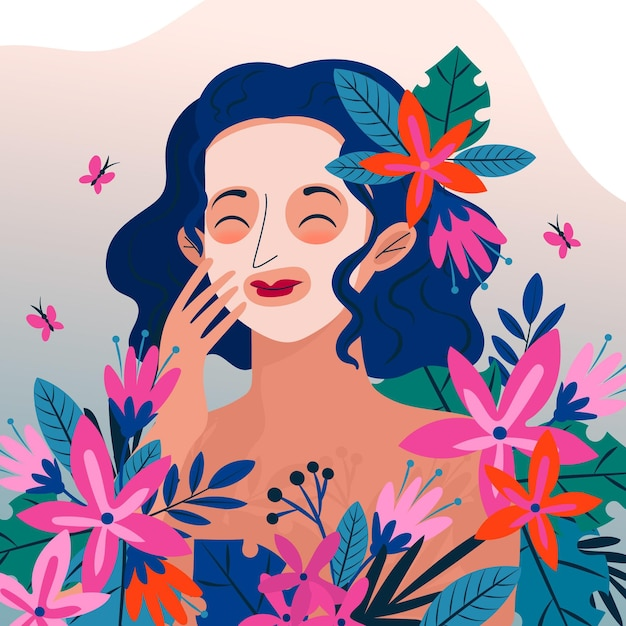 Woman with natural face mask and flowers Premium Vector
