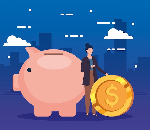 貯金箱とコインを持つ女性 無料ベクター