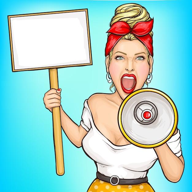 Woman with placard screaming in loudspeaker Free Vector