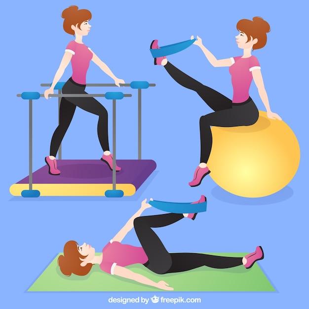 Женщина с реабилитационными упражнениями Бесплатные векторы