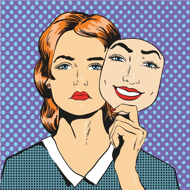 Woman with sad unhappy face holding mask fake smile.  illustration in comic retro pop art style Premium Vector