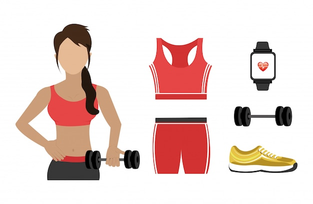 Woman with set icons fitness Free Vector