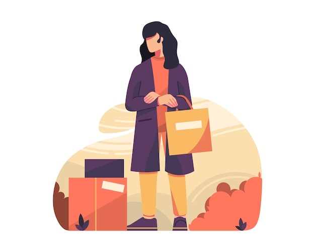 Woman with shoping bag vector illustration graphics Premium Vector
