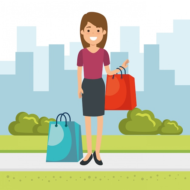 Woman with shopping bags in the park Free Vector