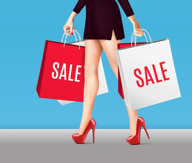 Woman with shopping bags realistic Free Vector