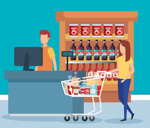 Woman with shopping cart in supermarket Free Vector