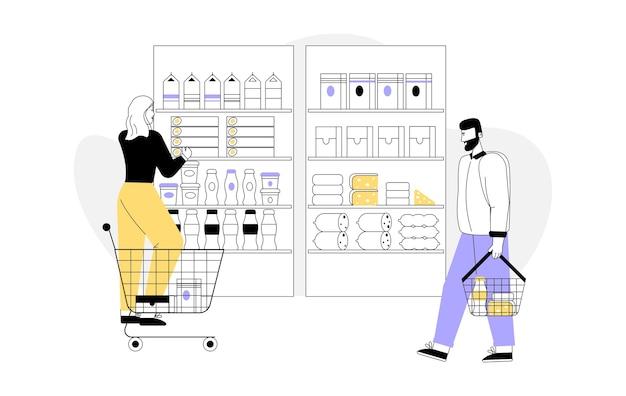 Женщина с тележкой для покупок выбирает продукты, полки с ассортиментом товаров. Premium векторы