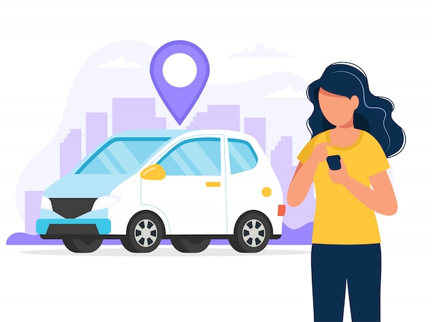 Woman with smartphone with an app to find a car location. car rental service via mobile app. Premium Vector