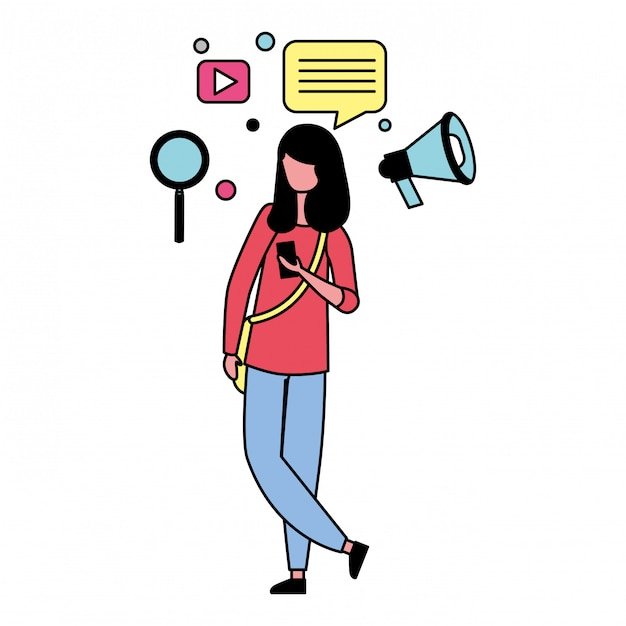 Premium Vector Woman With Social Media Icons