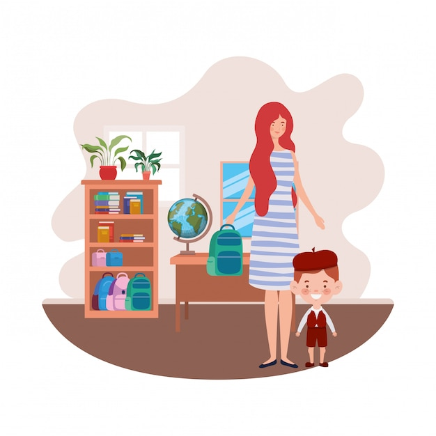 Woman with son of back to school Premium Vector