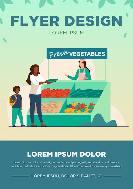 新鮮な野菜を選ぶ息子を持つ女性。ファーム、エコ、市場フラットベクトルイラスト。ショッピングと有機食品のコンセプト 無料ベクター