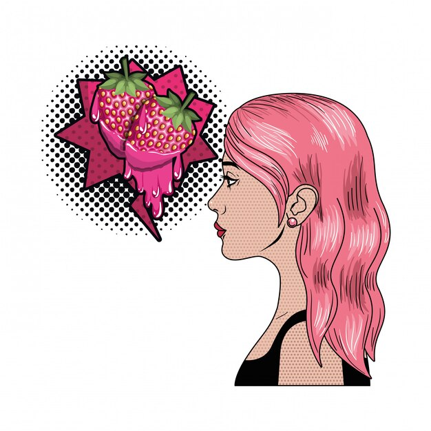 Woman with speech bubble about comic Premium Vector