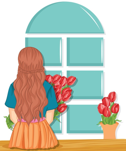 Woman with spring flower bouquet. mother's day. springtime Premium Vector