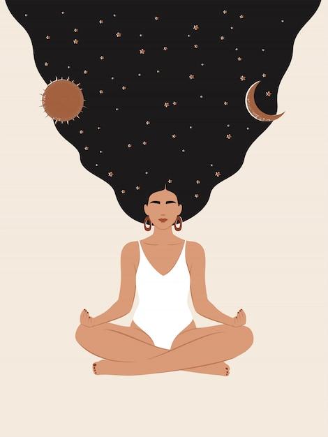 별 하늘, 태양, 달 로터스 위치에서 명상을 가진 여자 프리미엄 벡터