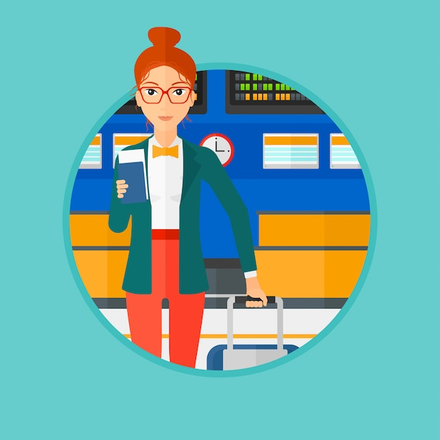 Woman with suitcase and ticket at the airport. Premium Vector
