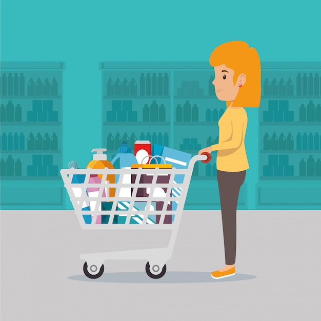 Woman with supermarket groceries Free Vector