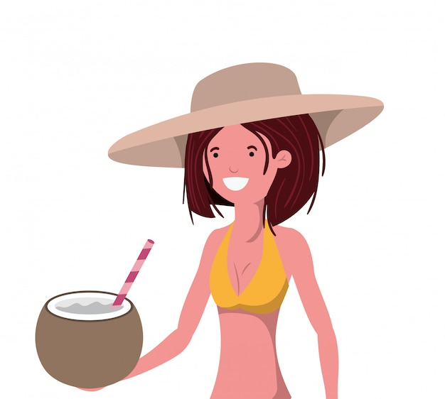 Woman with swimsuit and coconut water in hand Free Vector