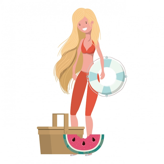 Woman with swimsuit and lifesaving float in white Free Vector