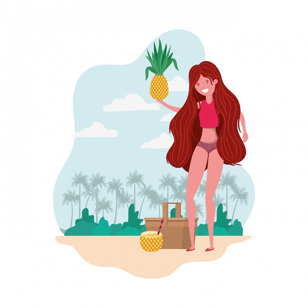 Woman with swimsuit and pineapple in hand Free Vector