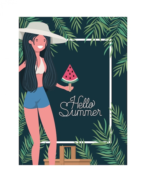 Woman with swimsuit and portion of watermelon in hand frame Free Vector