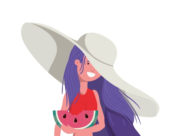 Woman with swimsuit and portion of watermelon in hand Free Vector