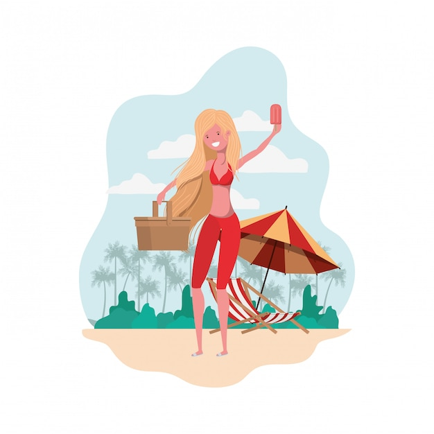 Woman with swimsuit and straw picnic Free Vector