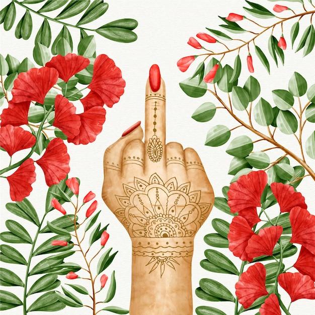 Женщина с татуировками, показывающими символ