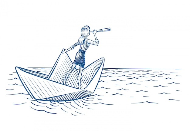 Woman with telescope sailing on paper boat Premium Vector