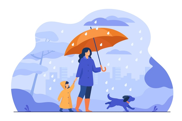 Woman with umbrella, girl in raincoat and dog walking in rain in city park. vector illustration for family activity, bad weather, downpour concept Free Vector