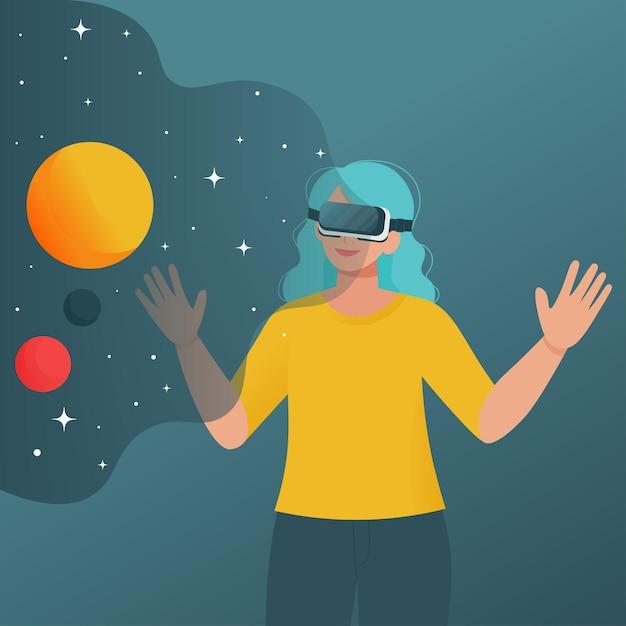 우주를 보는 가상 현실 고글을 가진 여자. 플랫 스타일의 일러스트레이션 프리미엄 벡터