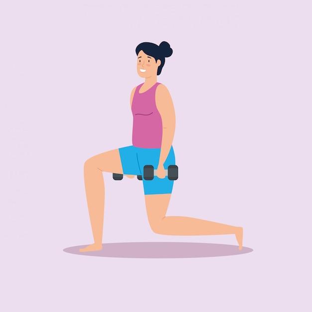 Donna con i pesi nella progettazione dell'illustrazione di vettore della casa Vettore gratuito